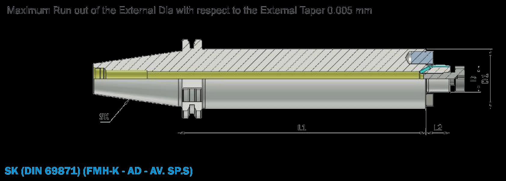 BT40 FMH-K16 200 AD AV SP.S ( BT MAS 403 ) Anti - Vibration Face Mill Holder Through Coolant