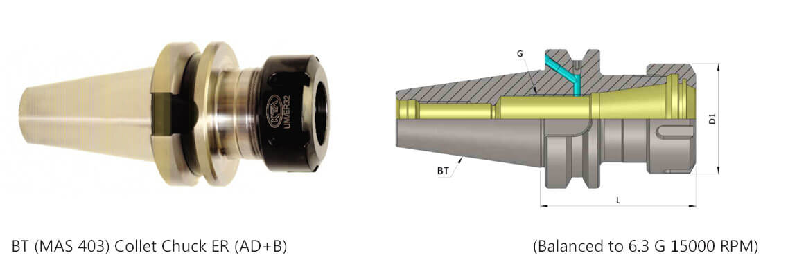 BT40 ER 40 160 Coolant Through Flange(AD+B) Collet Chuck (Balanced to G 6.3 15000 rpm) (DIN 6499)