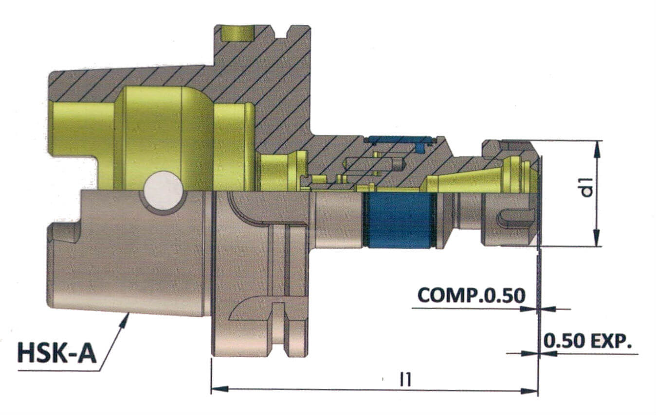 HSK-A 63 ER 20 090 MLC Minimum Length Compensation Tapping Chuck
