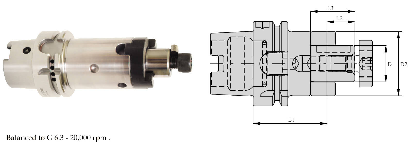 HSK-A 50 CSMA27 065 CombiShell Mill Adaptor (Balanced to G 6.3 20000 RPM) (DIN 6358)