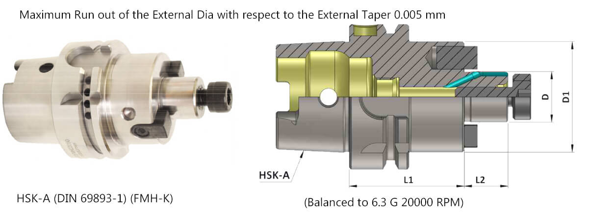 HSK-A 100 FMH-K40 100 Face Mill Holder-Through Coolant (Balanced to G 6.3 20000 RPM) (DIN 6357)