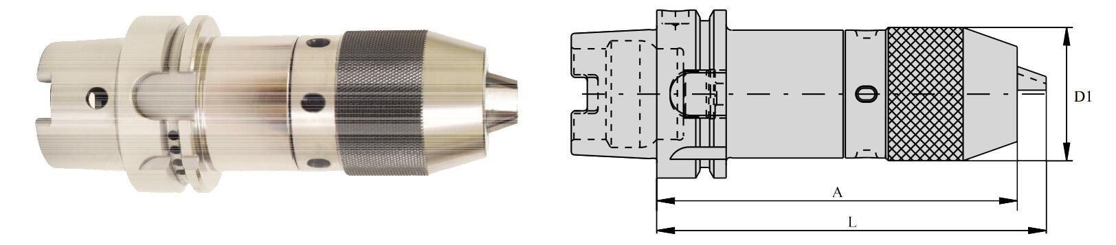 HSK-A 50 NCDC141 125 Integral Drill Chuck