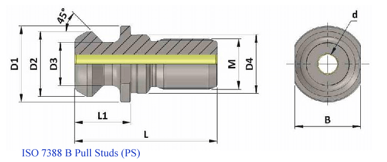 PS ISO50 B ISO7388 TC PULL STUD