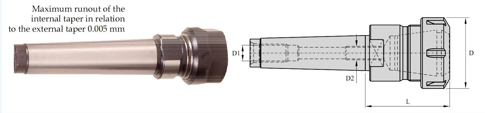 MT 1A ER 16 045 Morse Taper Collet Chuck ER - MTA Pull Type
