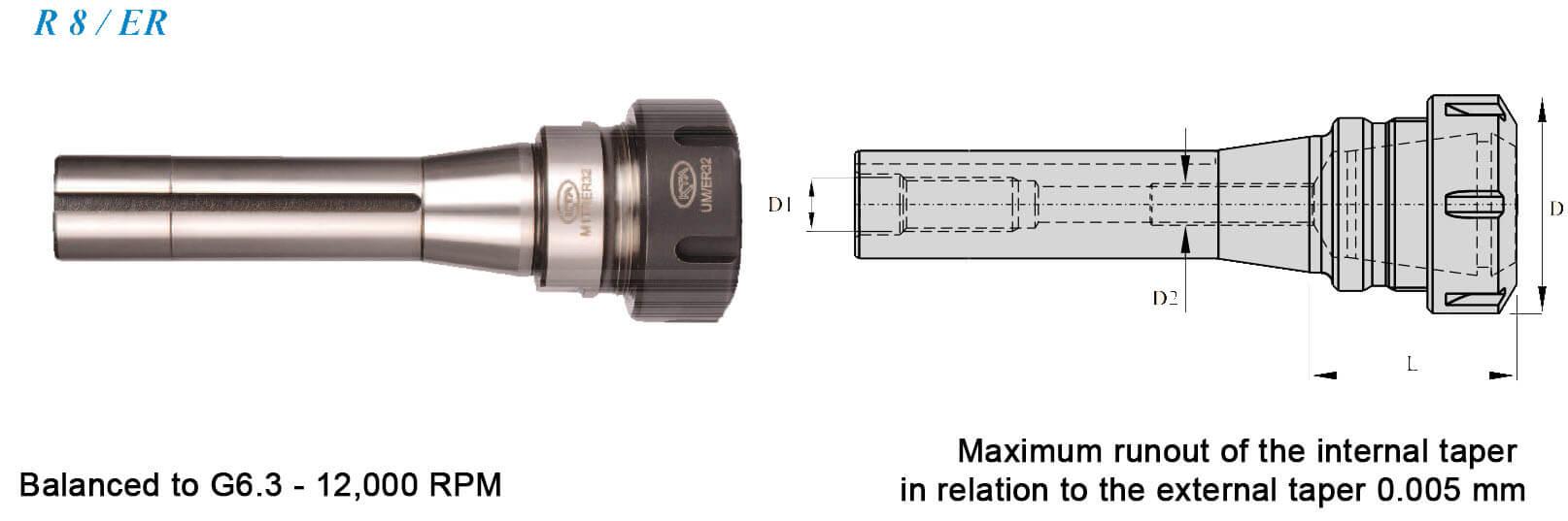 R8 ER 32 052 R8 Shank Tool Holders