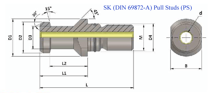 PS SK50 A DIN 69872 TC WITH O RING PULL STUD