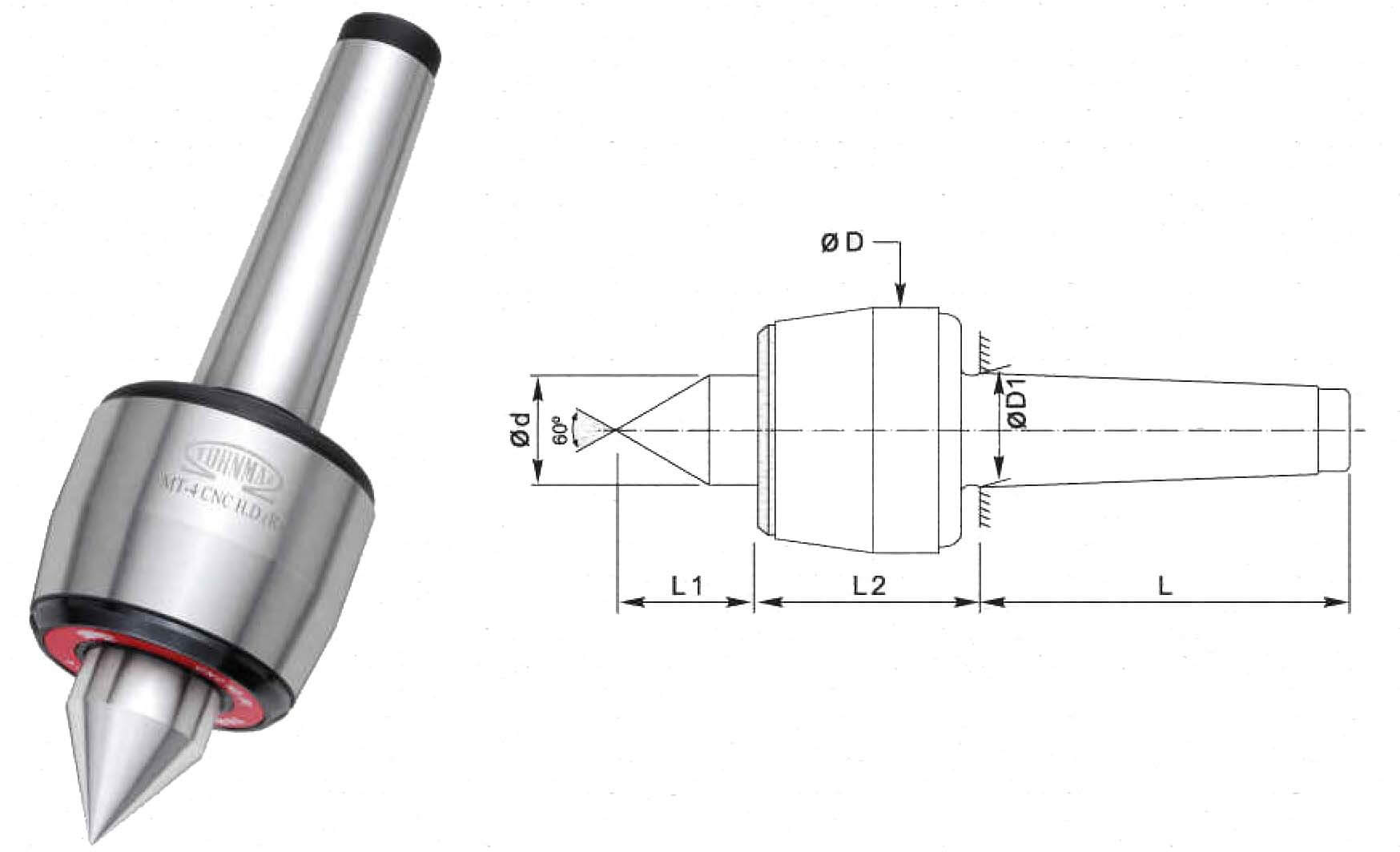 CNC Heavy Duty R Model MT6 Stub Point Revolving Center For High Speed Applications as in CNC Turning Lathes