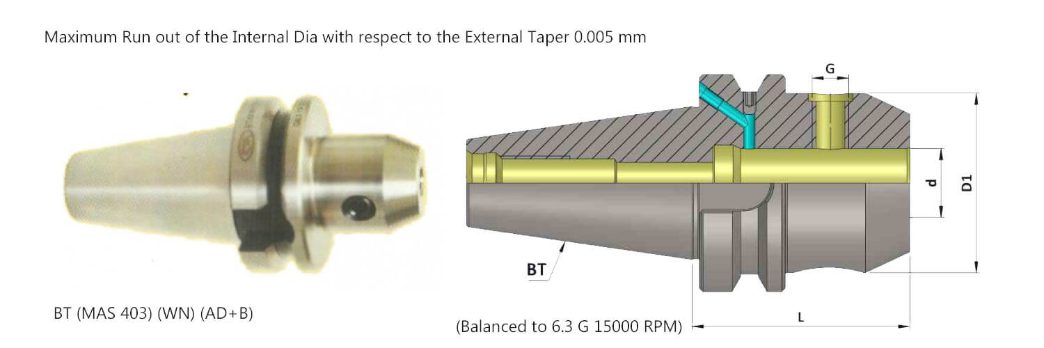BT40 WN10 100 Coolant Through Flange(AD+B) Weldon Type Holder (Balanced to G 6.3 15000 rpm) (DIN 6359)