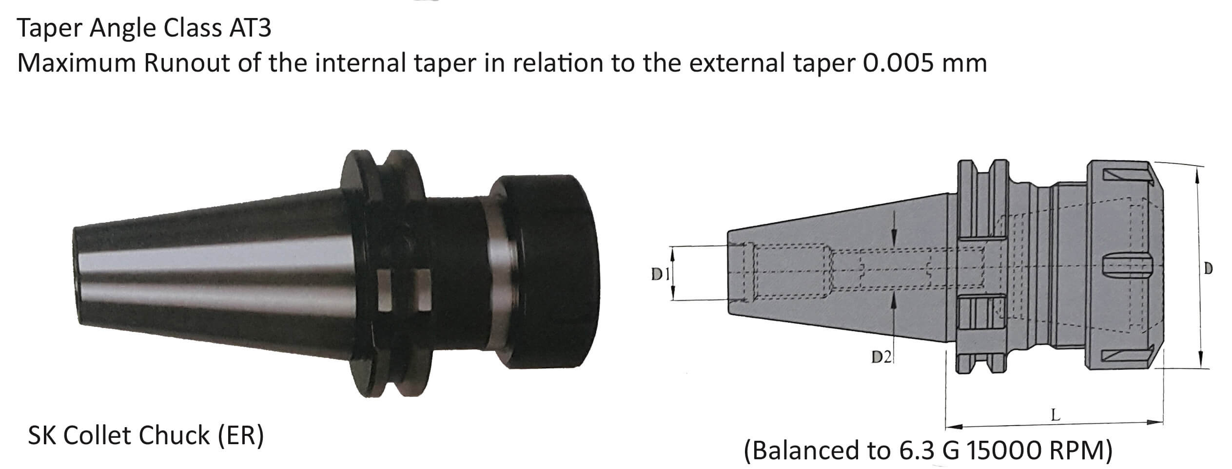 CAT50 ER 32 100 Collet Chuck (Balanced to G 6.3 15000 RPM)