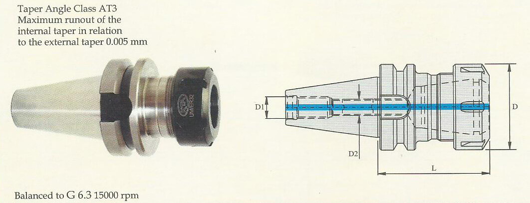 BT40 ER 20 100 Collet Chuck (Balanced to G 6.3 15000 rpm) (DIN 6499)